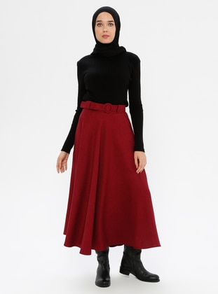 Maroon - Unlined - Skirt