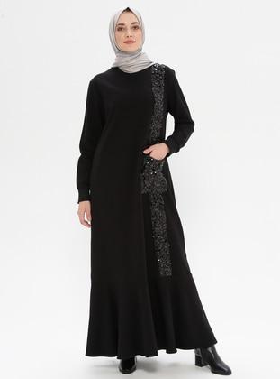 Black - Crew neck - Unlined -  - Dress