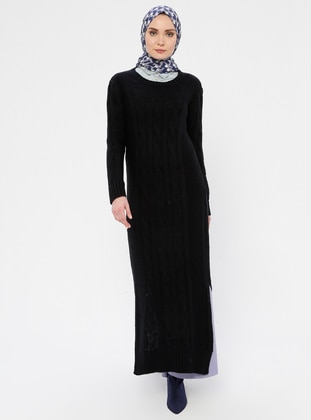 Navy Blue - Crew neck - Unlined - Acrylic -  - Wool Blend - Dress