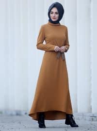 Mustard - Polo neck - Unlined - Dress