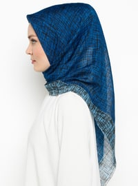 Blue - Printed - Viscose - Scarf