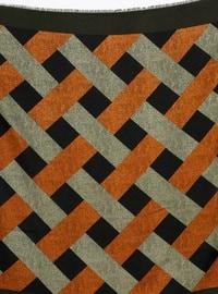 Khaki - Geometric - Viscose - Scarf