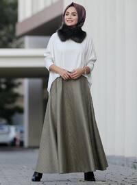 Khaki - Fully Lined - Skirt