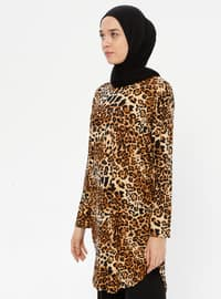 Brown - Leopard - Crew neck - Tunic
