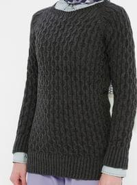 Anthracite - Crew neck - Acrylic -  - Wool Blend - Tunic