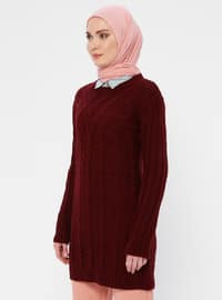 Maroon - Crew neck - Acrylic -  - Wool Blend - Tunic