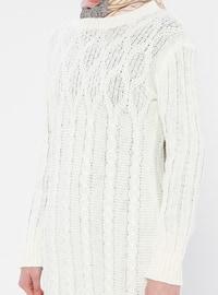 Ecru - Crew neck - Acrylic -  - Wool Blend - Tunic