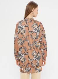 Camel - Multi - Crew neck - Tunic