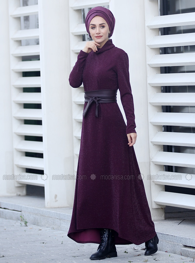 Plum - Polo neck - Unlined - Dress