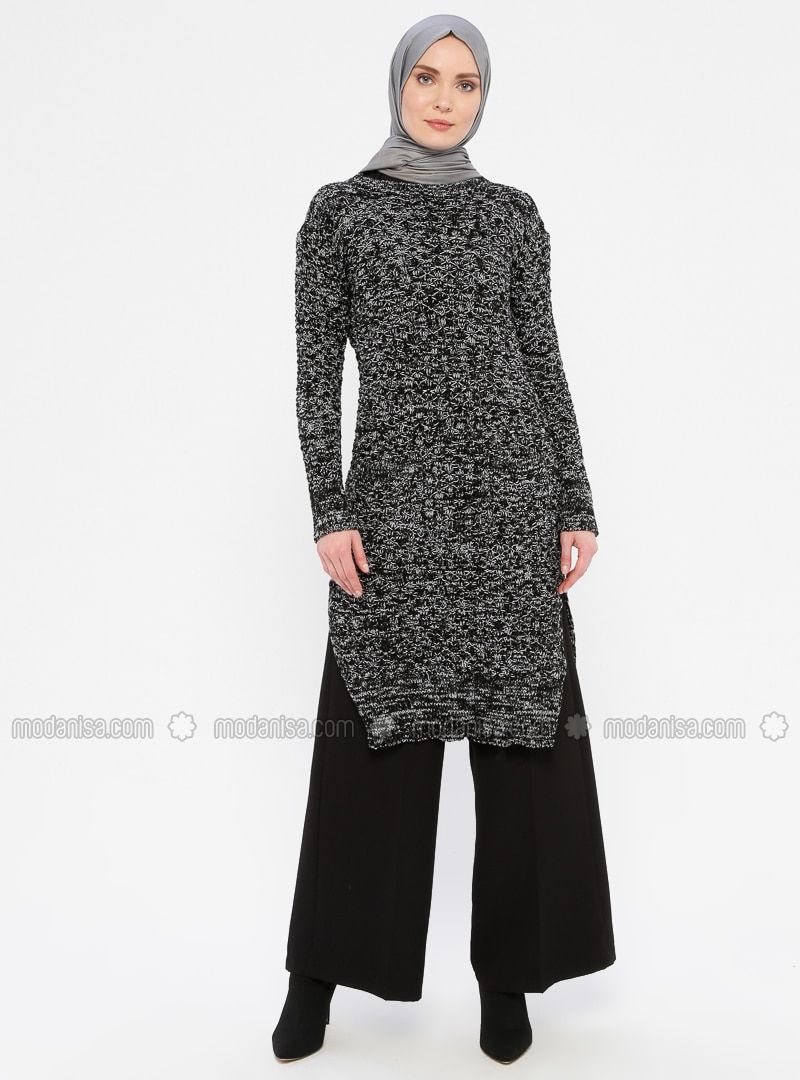 White - Black - Crew neck - Acrylic -  - Wool Blend - Tunic
