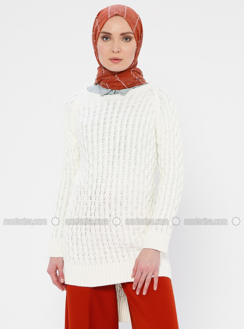 Ecru - Crew neck - Acrylic -  - Wool Blend - Tunic