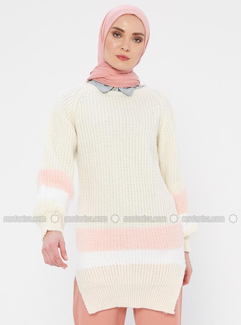White - Ecru - Crew neck - Acrylic -  - Wool Blend - Tunic