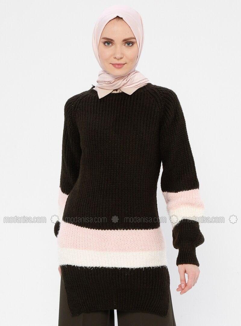 Black - Crew neck - Acrylic -  - Wool Blend - Tunic
