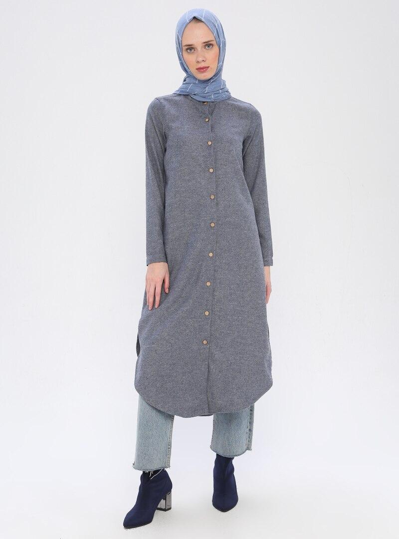 Tesettür Tunik Fular Store İndigo Kadın 38