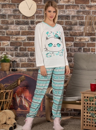 Ecru - Crew neck - Multi -  - Pyjama Set