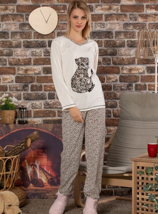 Ecru - V neck Collar - Multi -  - Pyjama Set