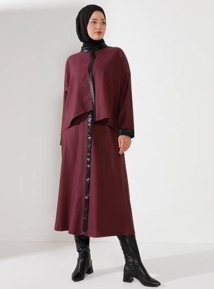 Maroon - Crew neck - Unlined - Plus Size Suit