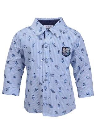 Multi - Point Collar -  - Unlined - Navy Blue - Blue - Boys` Shirt