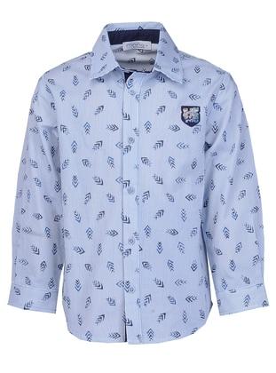 Multi - Point Collar -  - Navy Blue - Boys` Shirt
