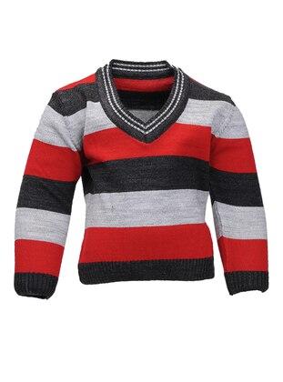 Stripe - V neck Collar - Acrylic - Unlined - Anthracite - Boys` Cardigan