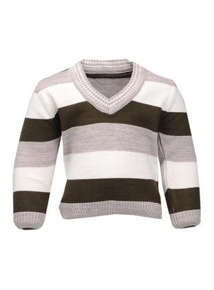 Stripe - V neck Collar - Acrylic - Unlined - Beige - Boys` Cardigan