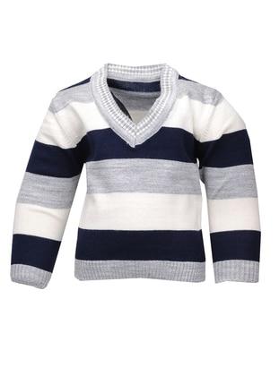 Stripe - V neck Collar - Acrylic - Unlined - Navy Blue - Boys` Cardigan