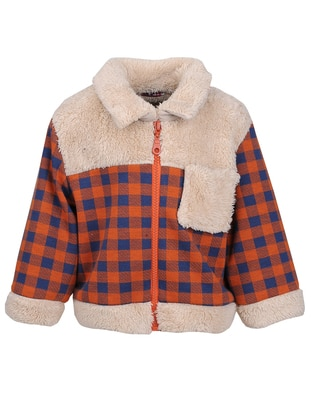 Checkered - Point Collar -  - Fully Lined - Orange - Boys` Jacket