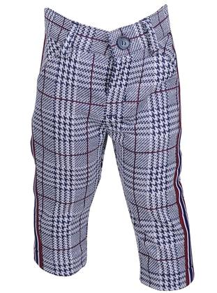 Plaid - Viscose - Unlined - Maroon - Navy Blue - Boys` Pants