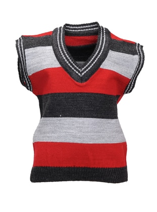 Stripe - V neck Collar - Acrylic - Unlined - Anthracite - Boys` Vest