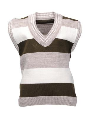 Stripe - V neck Collar - Acrylic - Unlined - Beige - Boys` Vest