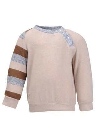 Crew neck - Viscose - Unlined - Beige - Boys` Sweatshirt