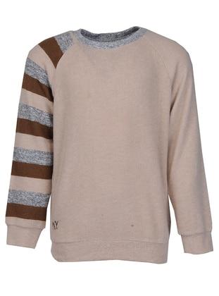 Crew neck - Viscose - Beige - Boys` Sweatshirt
