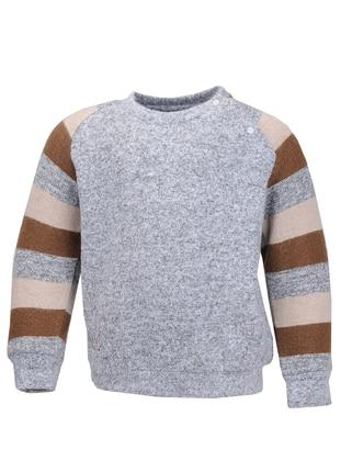 Crew neck - Viscose - Beige - Gray - Brown - Boys` Sweatshirt