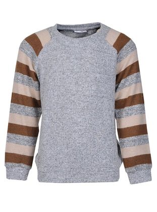Crew neck - Viscose - Gray - Boys` Sweatshirt