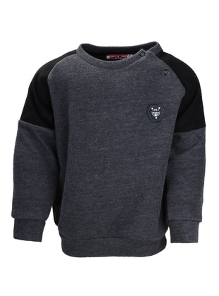 Crew neck -  - Unlined - Gray - Boys` Sweatshirt