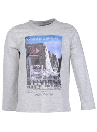 Multi - Crew neck -  - Unlined - Gray - Boys` Sweatshirt