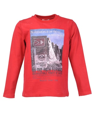 Multi - Crew neck -  - Unlined - Red - Boys` Sweatshirt