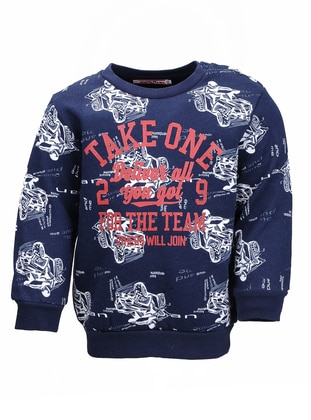 Multi - Crew neck -  - Navy Blue - Boys` Sweatshirt
