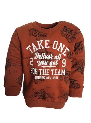Multi - Crew neck -  - Unlined - Cinnamon - Boys` Sweatshirt