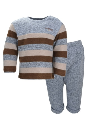 Crew neck - Viscose - Unlined - Gray - Boys` Suit
