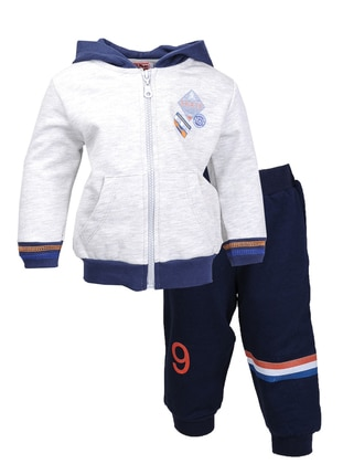 Multi - Crew neck -  - Unlined - Navy Blue - Boys` Suit