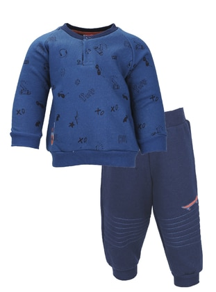 Multi - Crew neck -  - Unlined - Blue - Boys` Suit