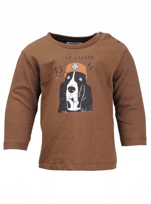 Crew neck -  - Unlined - Brown - Boys` T-Shirt