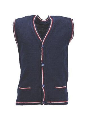 Stripe - V neck Collar - Acrylic - Unlined - Navy Blue - Boys` Vest