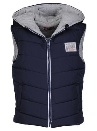 Polo neck - Fully Lined - Navy Blue - Boys` Vest