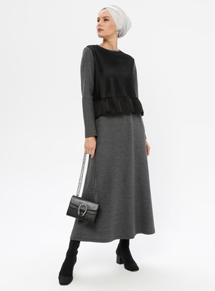 Smoke - Black - Crew neck - Unlined -  - Dress