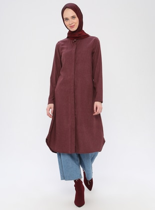 Maroon - Point Collar -  - Viscose - Tunic