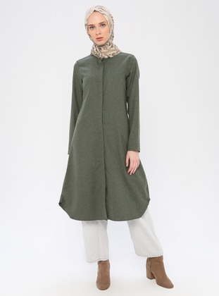 Khaki - Point Collar -  - Viscose - Tunic