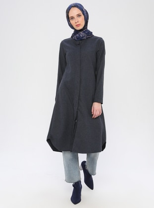 Navy Blue - Point Collar -  - Viscose - Tunic