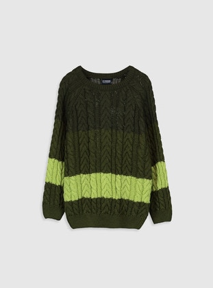 Printed - Crew neck - Green - Boys` Pullover